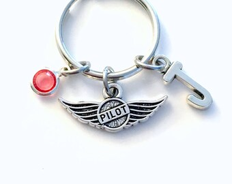 Pilot KeyChain, Pilot Wings Key Chain, Gift for New License Keyring Personalized Initial Birthstone Birthday present her him Airplane Air