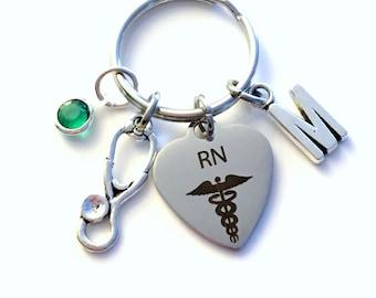 RN KeyChain Gift for Registered Nurse Key Chain, Nursing Keyring Personalized Initial Birthstone Birthday present purse charm planner her