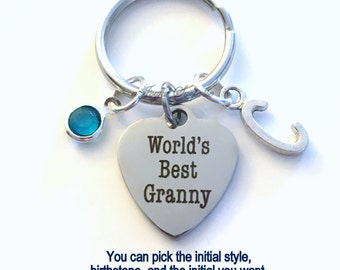 World's Best Granny KeyChain Gift for Grandmother Granny Keyring Key chain Initial Birthstone birthday Christmas present purse charm planner