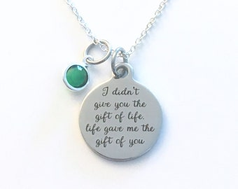 Adoption Gift for Girl Necklace, with multiple birthstone Mom from kids Jewelry, I didn't give you the gift of life gave me the gift of you