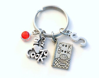 Culinary Keychain, Cook's Key Chain Personalized Cooking Keyring Silver Cookbook Charm I love to Cook Gifts for Chef Gifts, Restaurant Owner