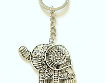 Elephant KeyChain, Large Elephant Keyring, Silhouette Gift for Animal Lover Key Chain Silver Jewelry birthday present Zoo Teenage Girl Teen