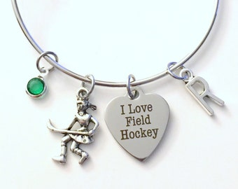 Field Hockey Bracelet, Player Jewelry Charm Bangle Team Mom Silver initial Gift for Teenage Daughter Teen Girl birthstone High School Junior