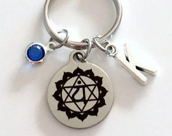 Anahata Chakra Keychain, Kundalini Heart Gift for Chinese Medicine Healer Fourth 4th Present Key Chain initial keyring birthstone yoga charm