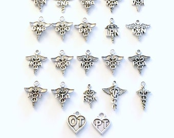 Caduceus Charm, Add on to any listings single Pendant Medical Symbol Charm for Necklace, Key Chain, Bracelet, Keychain RN MD PT Silver