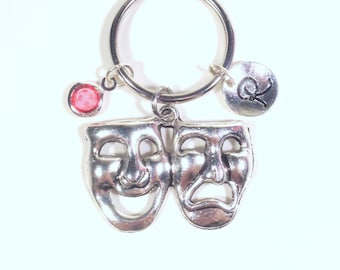 Theater Mask Keychain, Gift for Drama Student Key Chain, Musical Theatre Gift for Actress Actor initial birthstone purse charm planner her
