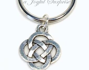 Celtic Knot Keyring, Silver Celtic Gift, Celtic Keychain Key chain, Celtic Circle Charm Sita Knot Wedding favor Irish Symbol Pewter man men