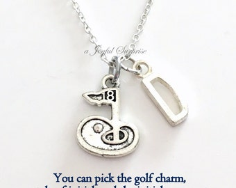 Golf Gift for Men Necklace, Golfer Jewelry Personalized Custom 18th Flag Charm Dad Mom Women Birthday Christmas Present Long Short chain Man