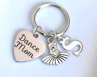 Monogram Dance Mom Keychain choice of letter initial, Custom Gift for Dancemom Keyring Dancer Key Chain birthday present Christmas Mother