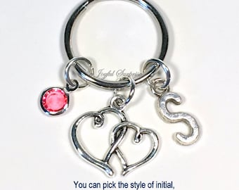 Two Hearts Keychain, Valentine's Day Present Key Chain Gift for Wife Anniversary Double Intertwined Girlfriend Keyring initial Birthstone