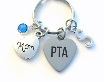 Gift for PTA Mom KeyChain, Volunteer Appreciation Key Chain, Thank you Keyring, Initial for Women Her Jewelry Charm Present School Family