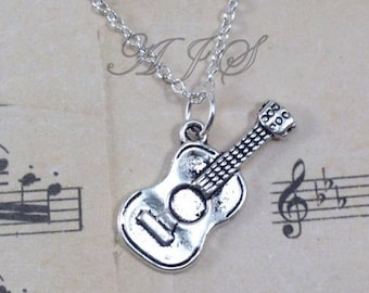 Guitar Necklace, Gift for Guitarist Jewelry, Rock Band Music, Silver Acoustic Country Charm Teenage Boy Man Men Teen Girl Teenager present