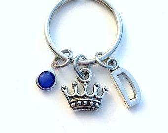 Tiara Keychain, Princess Key Chain, Gift for Queen Crown Royalty Keyring Silver Crown Charm initial birthstone Personalized custom teen girl