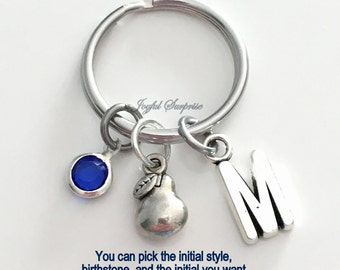 Pear KeyChain Tiny Fruit Keyring Food Key chain Silver Harvesting Jewelry Personalized Initial Birthstone birthday present Christmas Gift