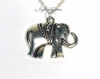 Silver Elephant Necklace, Large Animal Pendant, Flat Zoo African Jewelry Circus Lover's Gift Ideas Long Short Sterling Chain Boy man women