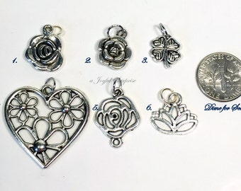Flower Charm Add on purchase, Antique silver pewter, Add on to Bangle, Necklace or Key Chain Jewelry Lotus Rose Four Leaf Clover Daisy peony