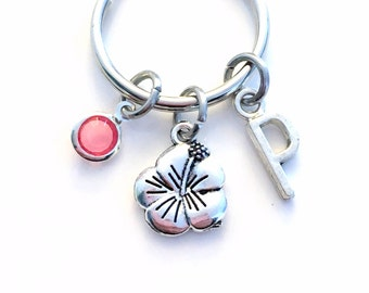 Hibiscus KeyChain, Flower Key Chain, Gift For teenager Girl Teen Jewelry Letter birthstone initial custom purse planner charm Silver keyring