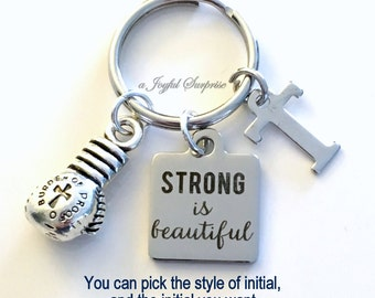 Strong is Beautiful KeyChain, Fight like a girl Keyring, Boxer's Key chain, Gift for Female Fighter Key Chain Keyring initial letter custom