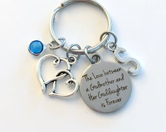 Gift for God Mother Keychain, The Love between a Godmother and Goddaughter is Forever, Key Chain Niece Birthstone Initial Present Jewelry