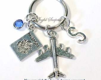 Travel Keychain, World Traveler's Gift Vacation Key Chain Gift for Travel Agent Keyring Airplane Globe Taxi Passport initial Birthstone her