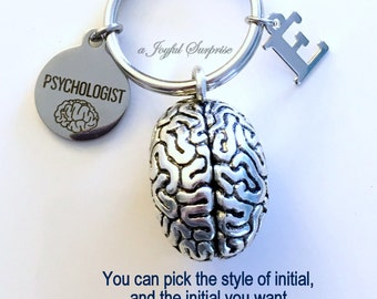 Psychologist KeyChain, Brain Keyring, Psych Student Key Chain, Gift for Psychology Major Doctor Keyring Graduation initial letter custom