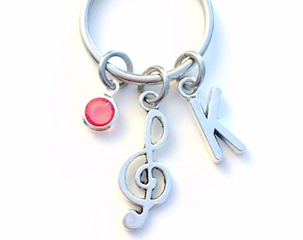 Gift for Teenage Girl or Boy Keychain, Treble Clef Key Chain Music Keyring Band Musician teen teenager women woman men birthday present her