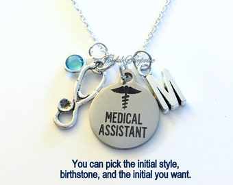 Medical Assistant Gift for MA Necklace, Stethoscope Jewelry Charm Custom Personalized Initial Birthstone birthday gift Christmas present