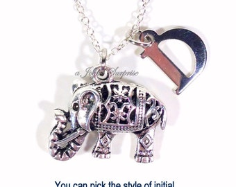 Indian Elephant Necklace, Silver Carved Elephant Jewelry Silver Charm Filigree Animal Gift Pewter Pendant with initial letter monogram 136