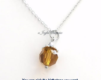 November Jewelry, Citrine Birthstone Necklace Birthday Present Dark Yellow Topaz Stone Gem Birthday Gift Crystal Christmas Bridesmaid Bridal