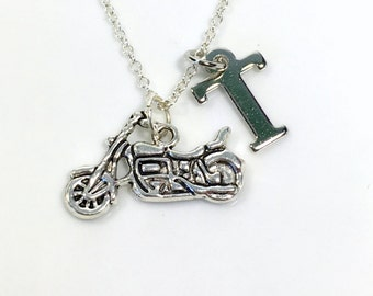 Motorcycle Necklace for Man, Biker Chick Jewelry, Gift for Motorbiker, Bike Motorcyclist Charm Men Boy with initial letter Masculine Pendant