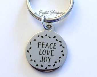 Peace Love Joy Key Chain, Christmas Keyring Gift Boss Keychain Employee Secret Santa present Exchange Mailman Garbage truck deliver driver