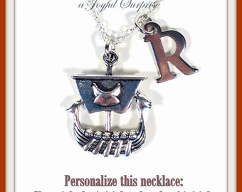 Pirate Jewelry, Monogram Ship Charm Necklace, Gifts for Son Silver Viking Ship Pendant, initial letter, Personalized custom medieval boat