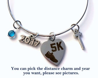 Marathon Runner Jewelry, 2018 5K Half Charm Bracelet, Bangle initial Birthstone Present Gift for Women Running Sneaker 26.2 Full 10 13.1 her