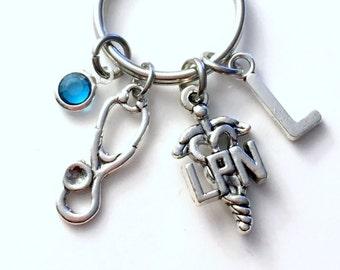Gift for LPN Nurse Keychain, Nurse's Keyring, Stethoscope Key Chain, Medical Nursing Graduation LPN Jewelry with initial birthstone her him