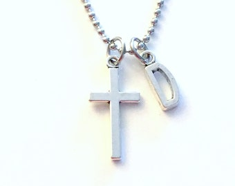 Cross Necklace for Man / Religious Gift for Men / Teen Boy Teenage Jewelry / Stainless steel bead ball chain / Crucifix Jewelry