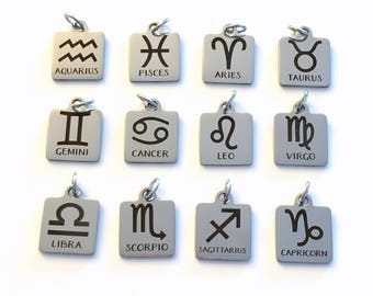 Zodiac Charm Add on listing single Pendant Silver Aries Taurus Gemini Cancer Leo Virgo Libra Scorpio Sagittarius Capricorn Aquarius Pisces