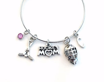 Goalie Hockey Mom Bracelet, Goaltender Mom Bangle, Birthday Jewelry Christmas present Ice Sports Gift Silver Athlete Mother's Day initial