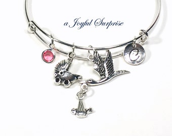Expectant Mom Bracelet, Gift for New Grandmother, Mother's Day Present Jewelry, Silver Bangle Birthday Stork Stroller Initial letter her