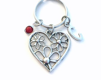 Daisy Heart Keychain, Gift for Sister Key Chain, Love Keyring Her Mom Aunt Auntie Friend Daisies Valentines Day initial birthstone present