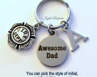 Fireman Dad Keychain, Daddy Key Chain, Gift for Father's Day, Firefighter Fire Dept Emblem Dad Keyring, Awesome Dad Gift Initial Letter son