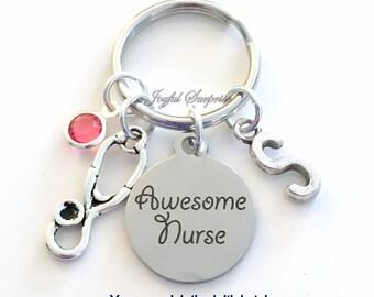 Awesome Nurse KeyChain Gift for Nurse Key Chain Nursing Keyring Customized Initial Birthstone Birthday Christmas present purse charm planner