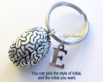 Brain KeyChain, Human Brain Keyring, Neurosurgeon Key Chain, Gift for Neurologist Doctor Keyring Graduation initial letter custom men woman