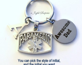 Paramedic Dad Keychain, EMT Key Chain, Gift for Father's Day, Emergency Medical Gift, Emblem Dad Keyring, Awesome Dad Initial Letter Daddy