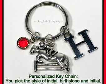 Horse Keychain, Equestrian Silver Jewelry, Horse Keyring Gift Horse jumping fence Charm Pendant Monogram Personalized Initial Birthstone 44