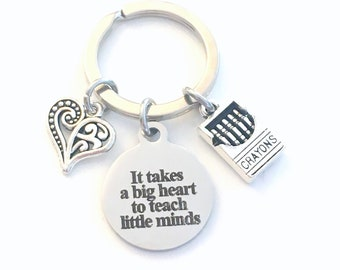 Preschool Teacher Gifts Keychain, It takes a big heart to teach little minds Key Chain, for Kindergarten Keyring, Daycare Thank you Present