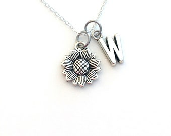 Sunflower Jewelry, Sun Flower Necklace, Silver Floral Charm, Gift for Bridesmaid Present, Bridal party, her Canadian Seller Shop in Canada