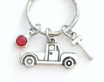 Personalized Classic Truck Keychain, Silver Tow Truck Driver Key Chain Pewter Truckers Pendant Gift Initial Birthstone Keyring him her men
