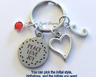 Peace Love Joy Keychain, Christmas Keyring Gift Heart Key Chain Initial Birthstone Funny Employee Boss Secret Santa present Sister Exchange