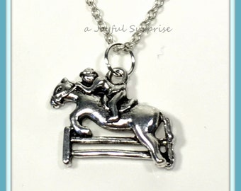 Horse Necklace, Show Jumping Fence Charm, Pony Jewelry, Equestrian Gift for Jockey Silver Pewter Pendant Birthday present long short 44