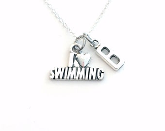 Swimmer's Necklace, I love Swimming Jewelry, Silver Swim Charm, Grandson Gift for Teenager Boy Birthday Present BFF Teenage Son coach him